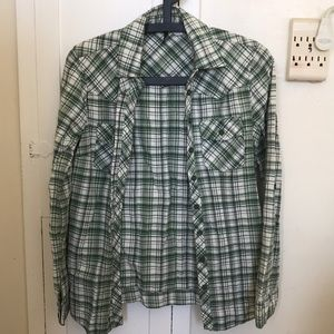 Top shop green plaid button up